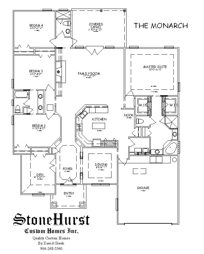 Stonehurst custom homes inc northeast florida home builder Monarch homes floor plans